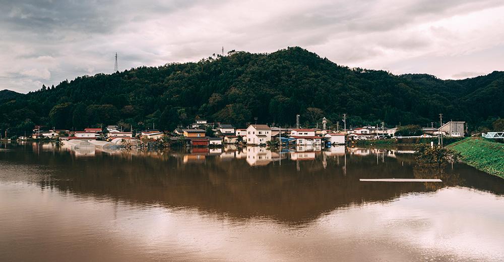 河川周辺住宅の浸水冠水被害